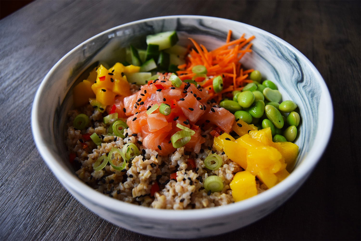 Foodmelodies steel cut oats poké bowl